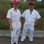 Caddies Laura and Luis ready for work.
